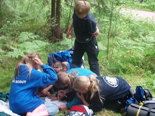 Scouter från de olika kårerna funderar tillsammans på något knivigt problem under P-råddet på O'hoj-08.